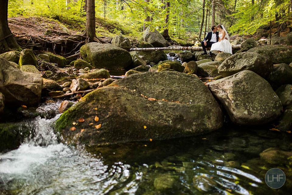 sesja ślubna nad górskim potokiem