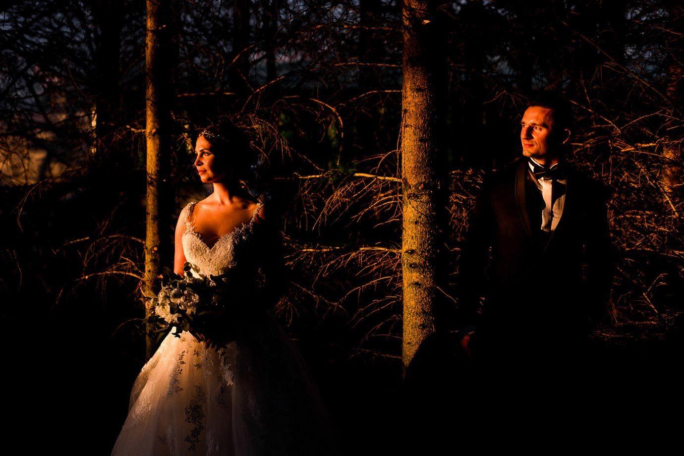 sesja ślubna przy zachodzącym słońcu
