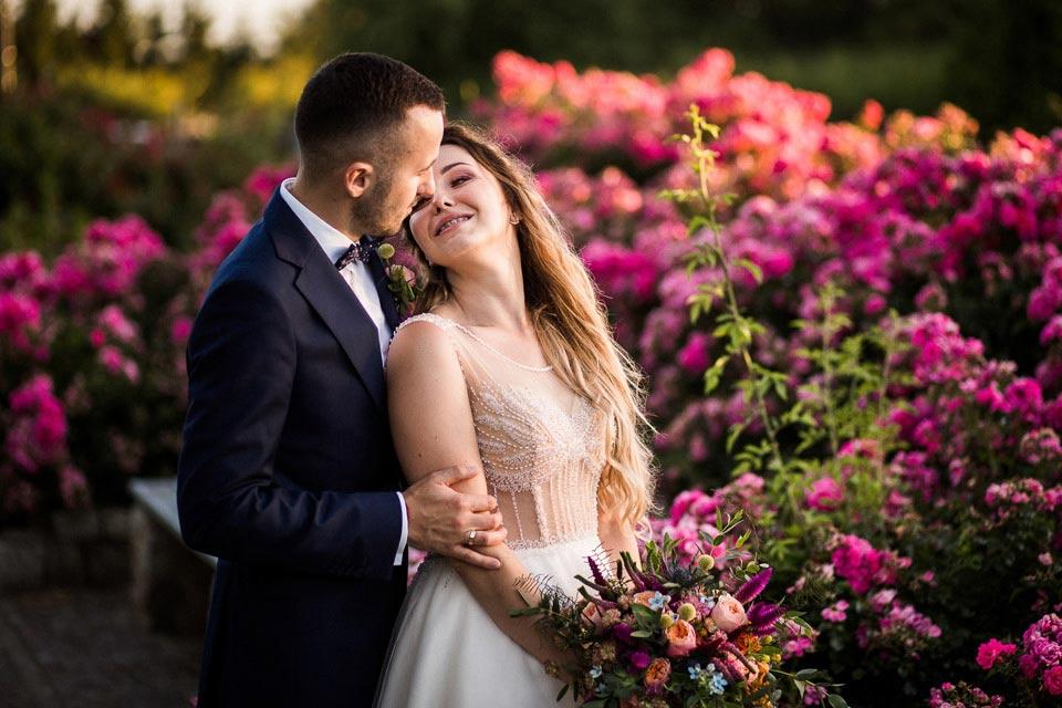 różowe kwiaty na ślub
